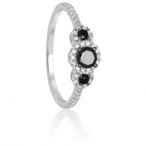 Bague Trilogie, Or blanc & Diamants noirs