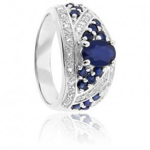 Bague, Or Blanc 9K, Saphir & Diamants