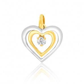 Pendentif Double Cœurs Diamant Or Jaune & Blanc 18K