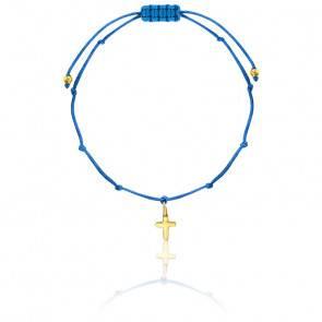 Bracelet cordon croix plaqué or