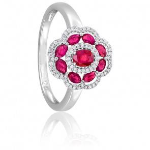 Bague Fleur Rubis & Diamants Or Blanc 18K