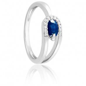 Bague Saphir & Diamants Or blanc 18K