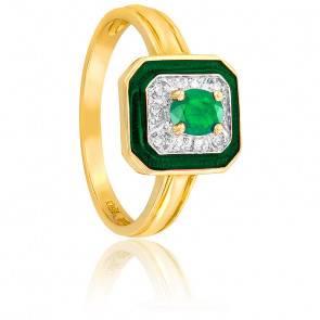 Bague Rectangulaire Emeraude & Diamants Or 18K