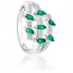 Bague Emeraudes & Diamants Or blanc 18K