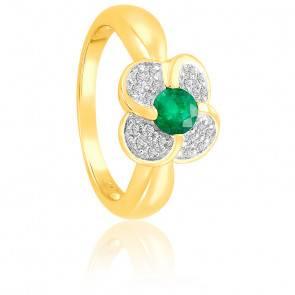 Bague Fleur Emeraude & Diamants Or 18K