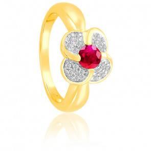 Bague Fleur Rubis & Diamants Or 18K