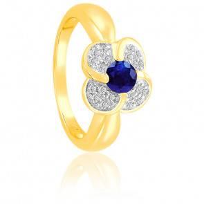 Bague Fleur Saphir & Diamants Or 18K