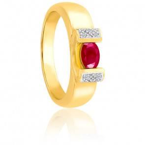 Bague Moderne Rubis & Diamants Or Jaune 18K