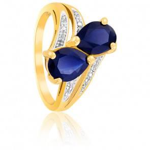 Bague Saphirs Poires & Diamants Or 18K