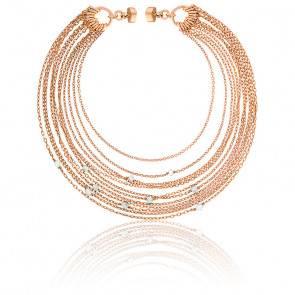 Bracelet chaines multiples perle plaqué or rose