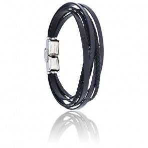 Bracelet acier & cuir tressé italien noir