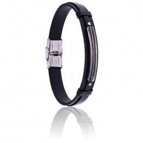 Bracelet large acier, cuir italien noir & plaque
