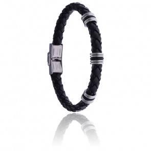 Bracelet acier, cuir tressé noir & caoutchouc