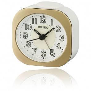 Réveil Seiko Clocks blanc et doré QHE121GN