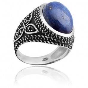 Bague, Argent rhodié & Lapiz lazuli