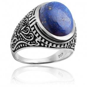 Bague Lapiz lazuli Argent rhodié