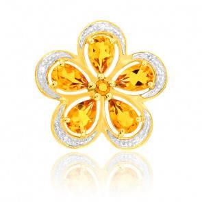Pendentif Citrine & Diamants Or Jaune 9K