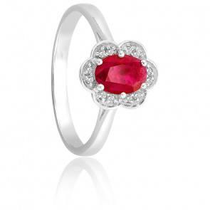 Bague Rubis & Diamants Or Blanc 9K