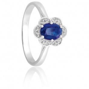 Bague Saphir & Diamants Or Blanc 9K