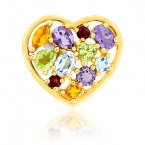 Pendentif Coeur Plein Multi Pierres Or Jaune 9K