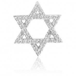 Pendentif Etoile Diamants Or Blanc 9K