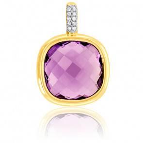 Pendentif Or Jaune 9K Améthyste et Diamants
