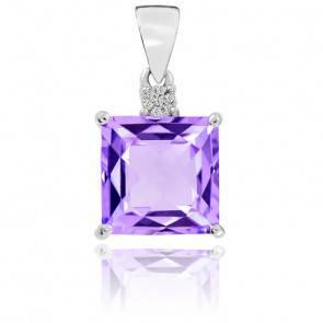 Pendentif Or Blanc 9K Améthyste et Diamants