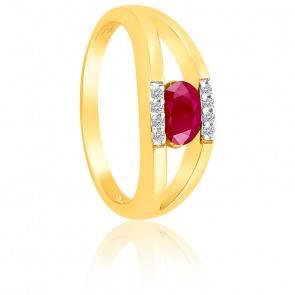 Bague Ovale Rubis & Diamants Or Jaune 9K