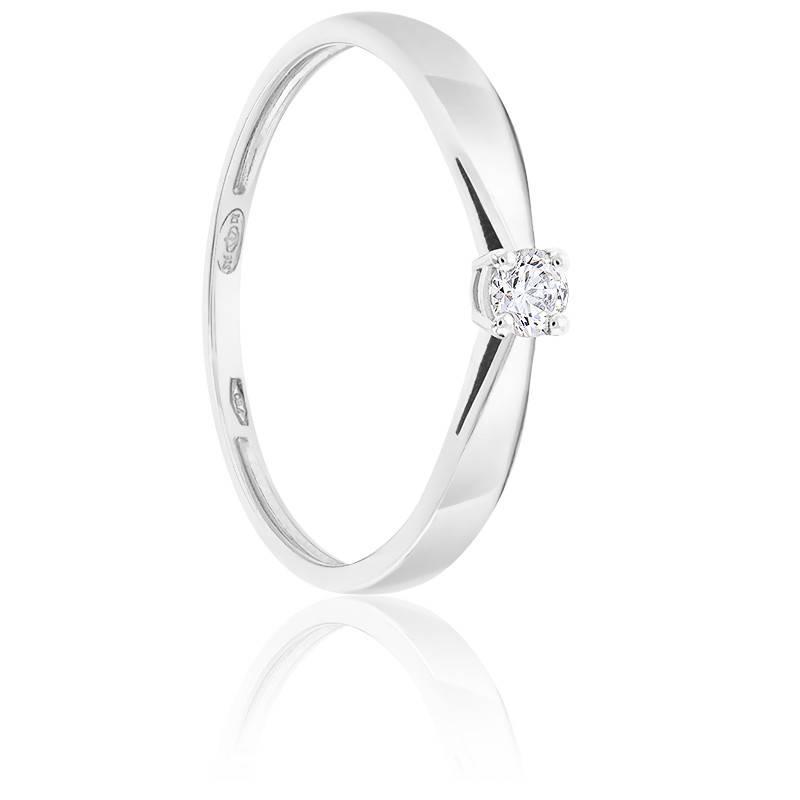 Bague Solitaire Diamant 0.10ct & Or Blanc 18K