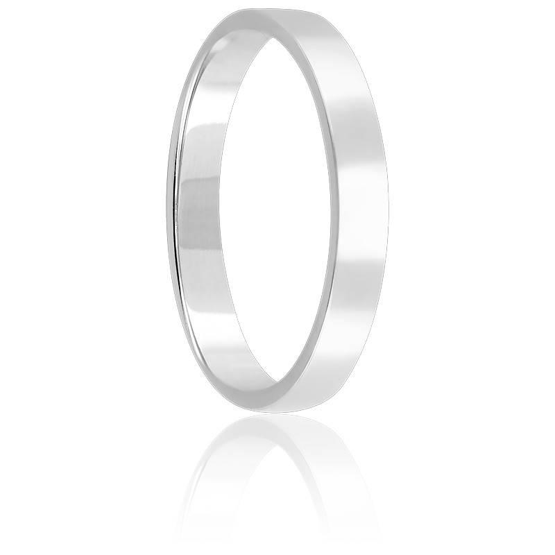 Alliance Ruban Plat 3 mm Or Blanc