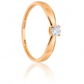 Bague Solitaire Diamant 0.20ct & Or Rose 18K