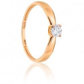 Bague Solitaire Diamant 0.25ct & Or Rose 18K
