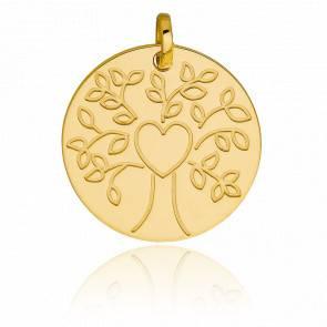 Médaille Arbre de vie coeur, Or jaune 9K