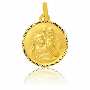 Médaille Ronde Saint Christophe diamantée, Or jaune 18K