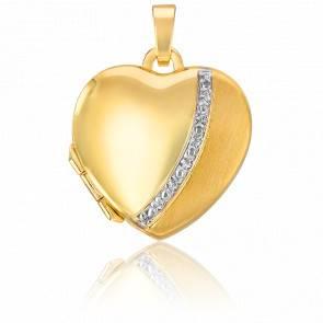 Pendentif photo cœur mat brillant Or jaune