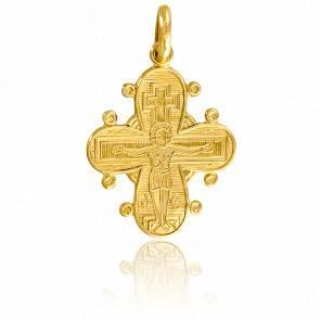 Pendentif croix bords ronds or 9k
