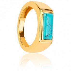 Chevalière turquoise atom gold