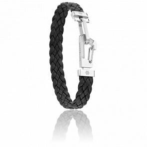 Bracelet Wrap me Leather Cuir Tressé Noir & Acier