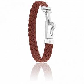 Bracelet Wrap me Leather Cuir Tressé Marron & Acier