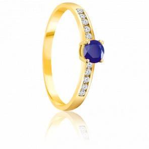 Bague Saphir 0.30 ct & Diamants Or Jaune 18K