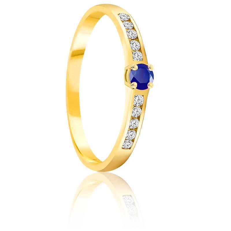 Bague Saphir 0.10 ct & Diamants Or Jaune 18K