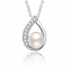 Pendentif Or Blanc Perle & Diamants