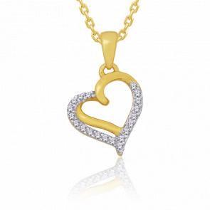 Pendentif Cœur, Or jaune & Diamants 0.05 ct