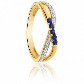 Bague croisée Or jaune 9K saphirs & diamants