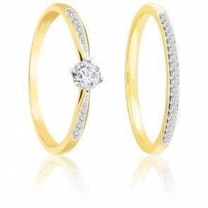 Duo bagues de fiançailles or jaune 9K & diamants