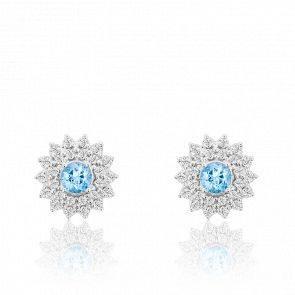 Boucles d'oreilles fleurs or blanc 9K topaze & diamants