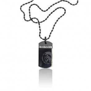 Collier acier noir motif Mohican, DX0004040