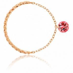 Bague Or 18K Rose corde Saphir rouge percé