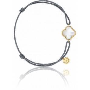 Bracelet Victoria Cordon Gris Nacre, Or Jaune