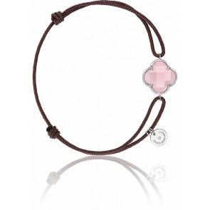 Bracelet Victoria Cordon Taupe Quartz Rose Poudre, Or Blanc